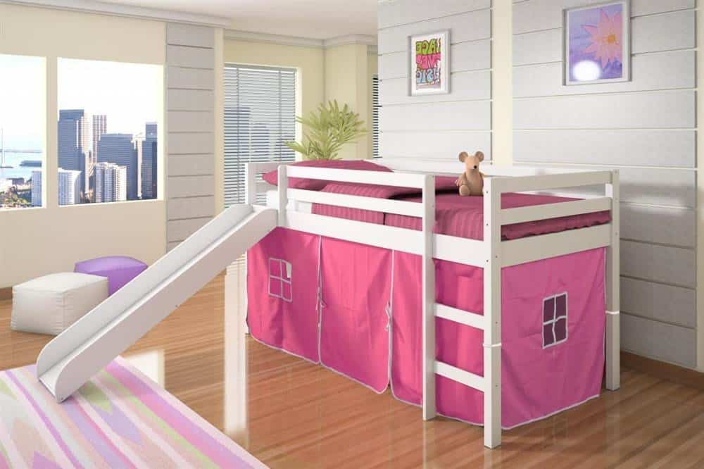 Twin Tent Loft ... & Twin Tent Loft with Slide and Slat-Kits in White with Pink Tent ...