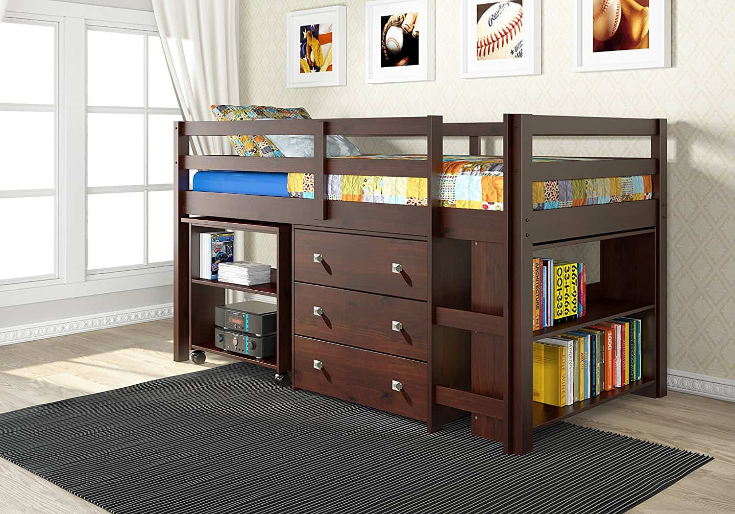 Low Study Loft Bed With Roll Out Desk