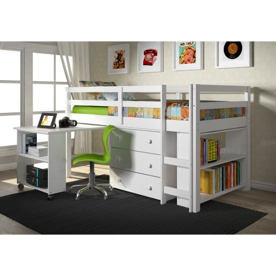Low Study Loft Bed With Roll Out Desk White